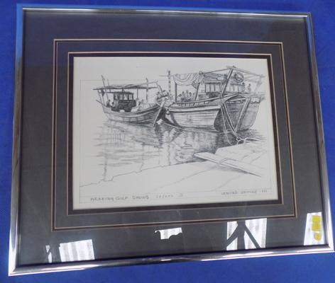 'Arabian Gulf Dhows' limited edition print by Lenore de Pree (famous Michigan artist/author) 50/200