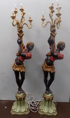 Pair of Blackamoor palatial floor lamps approx 7'