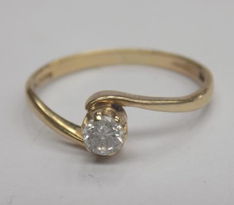 9ct Gold 0.25ct solitaire diamond engagement ring size Q1/2
