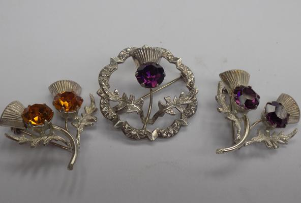 3x Vintage Scottish sterling silver citrine & amethyst brooches, all Ward Bros