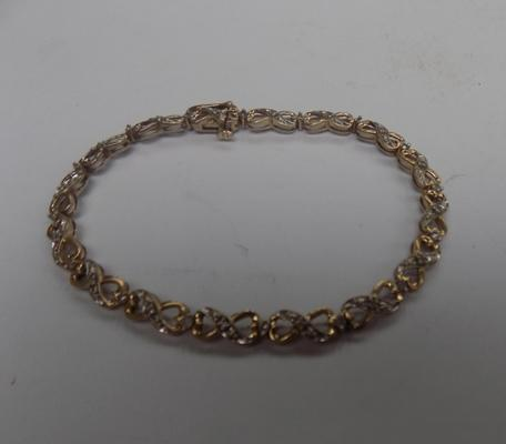 Ladies 9ct gold 0.50ct diamond tennis bracelet hallmarked 8.87gms
