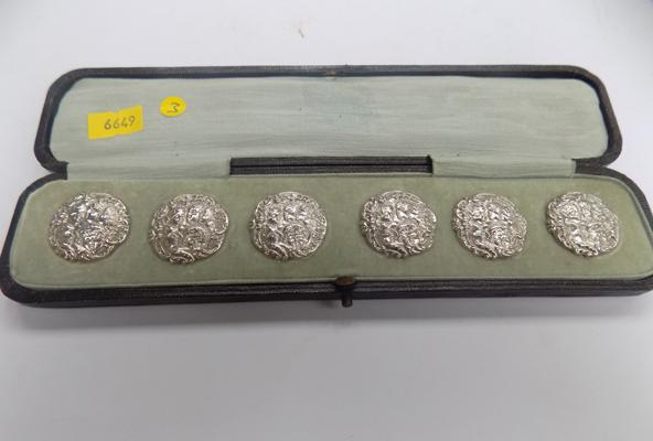 Cased antique 6x solid silver buttons Reynolds Angers cherubs etc Birmingham 1901