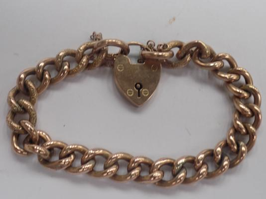 Antique 9ct Rose gold padlock fastener charm bracelet 20.21gms