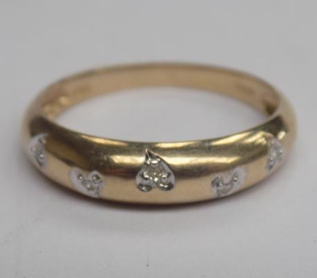 9ct Gold diamond ladies half eternity ring approx size P1/2