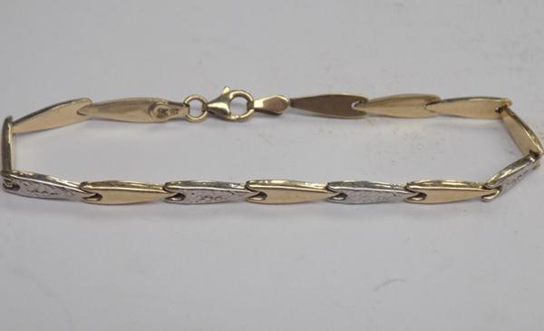 "9ct Yellow & white gold ladies 7.5"" bracelet"