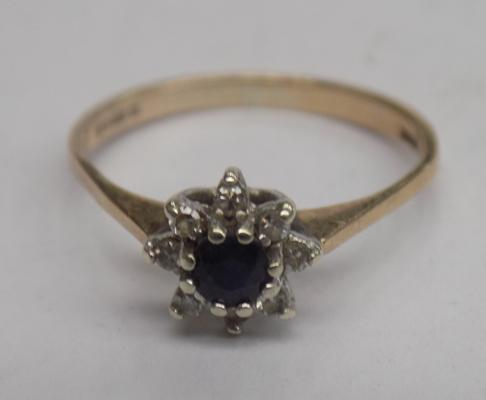 9ct Gold diamond & sapphire ring size L1/2 London 1982