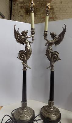 Pair of heavy ornate lamps