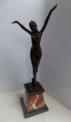 "Deco style bronze lady dancer, foundry mark & signed 21"" tall"