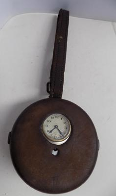 Night watch mans clocking in clock with original leather case