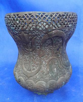 "Large bronze planter approx 9.5"" high"