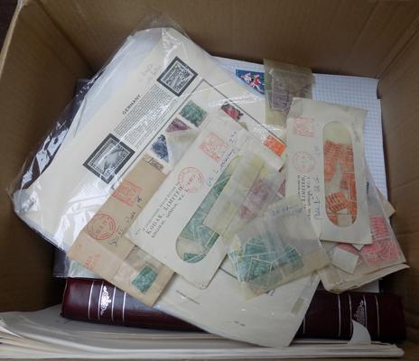 Large box of stamps incl. George VI in packets etc.