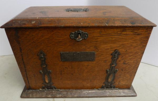 Antique writing box with some original accessories inc pen & ink pot-dated 1906-key in office