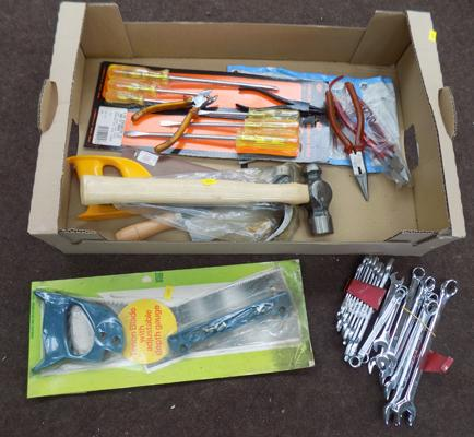 Box of new DIY tools incl. spanners, saws and screwdrivers