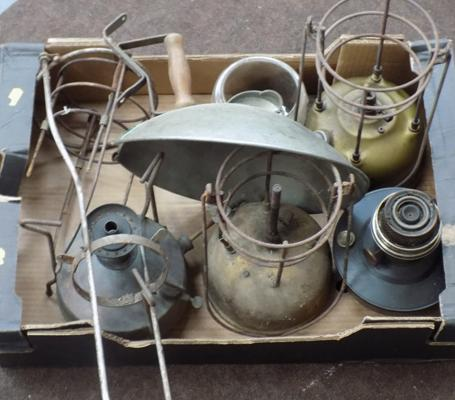 Box of Tilley lamps and others