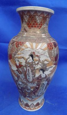 Large hand painted satsuma vase approx 24""