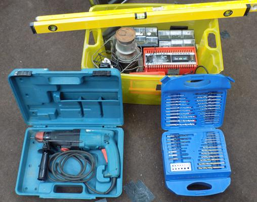 Box of assorted tools, incl. drill, levels & box of drill bits etc...