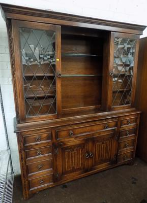 Oak dresser, leaded glass front & hidden shelves