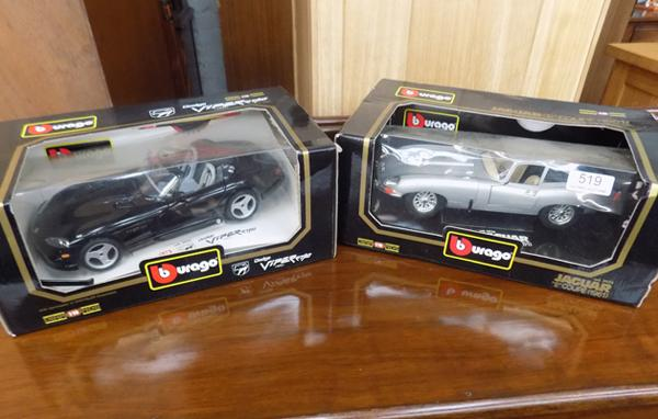 Two Burago boxed models - Dodge Viper & Jaguar