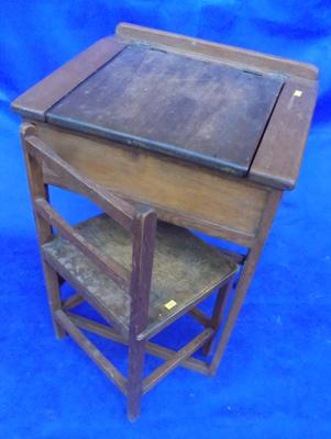 1950's child's beech and elm school lift up desk and chair