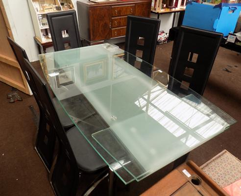 Glass extending table + 5 chairs
