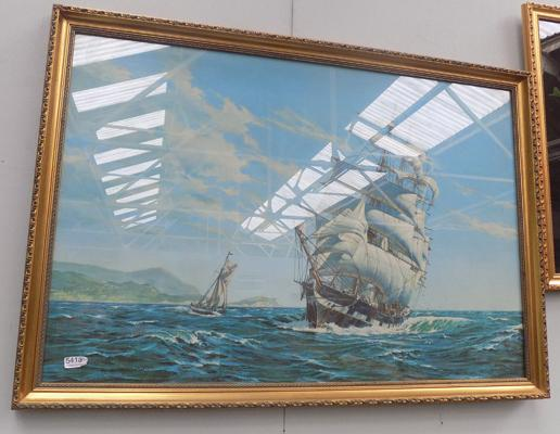 Framed picture of ship 'Piako picking up a pilot'