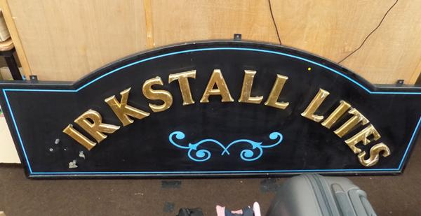 "Vintage metal, hanging 'Kirkstal Lites' Leeds pub sign, 6ft 7"" wide, with missing K"