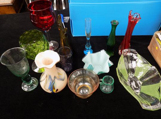 Selection of coloured glass items