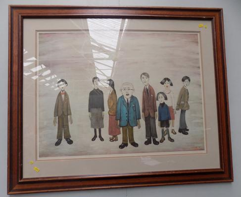 Large framed print of 'The Family' by L.S.Lowry - with pencil signature (not authorised) - 2 pieces