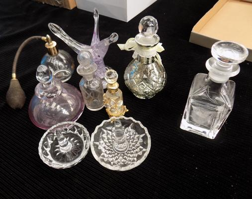 Selection of perfume bottles + ring holders