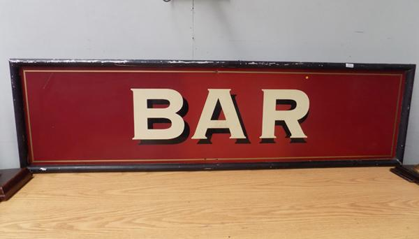 Vintage metal frame, 6.5ft wide 'Bar' pub sign