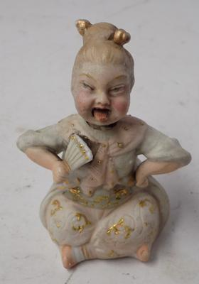 "Antique ceramic lady -approx 4"" high"