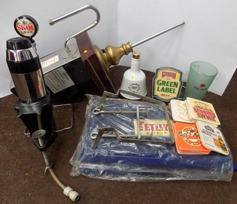 Generous selection of breweriana, incl. vintage brass handled beer pump