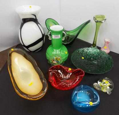 Generous selection of vintage blown glass, incl. Murano + Laguna (10)