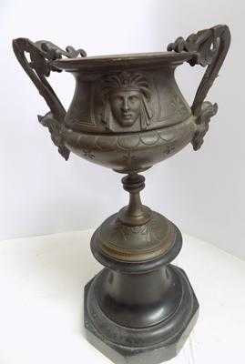 Antique French bronze Chalice on marble base-circa 1880