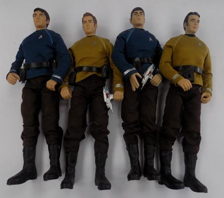 Four Star Trek 2009 figures with accessories