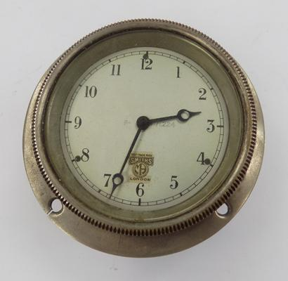 Smiths car dash, wind up clock - 7cm diameter face