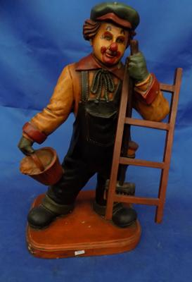 "Clown with ladder/broom - 33"" tall"