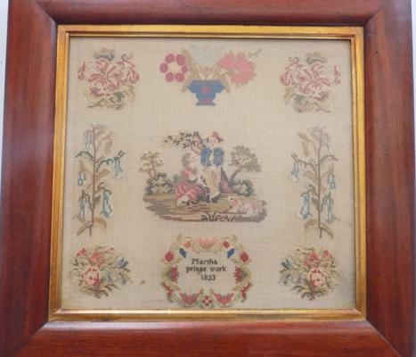 Framed tapestry - Martha Prince work 1853