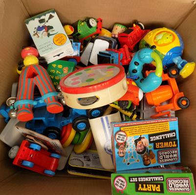 Box of kid's toys, incl. Thomas the Tank Engine