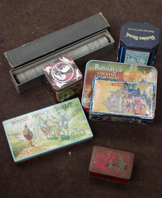 Box of vintage tins