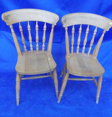 Two pine chairs - one needs attention