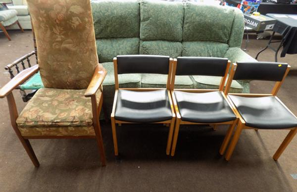 Parker Knoll fireside chair & three bedroom chairs