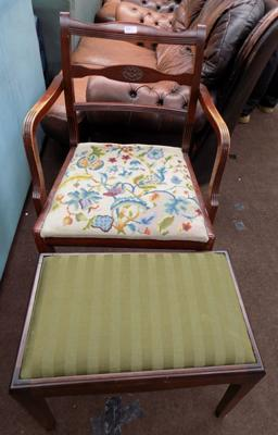 Vintage tapestry seated chair + dressing table stool