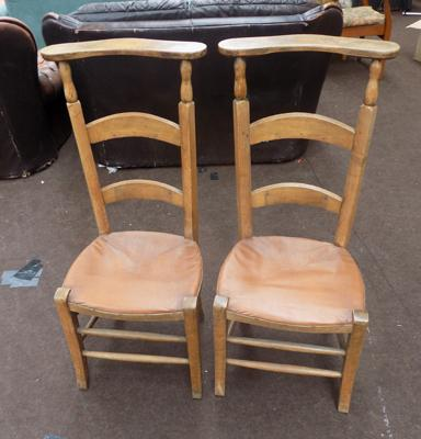 2 old straw based chairs