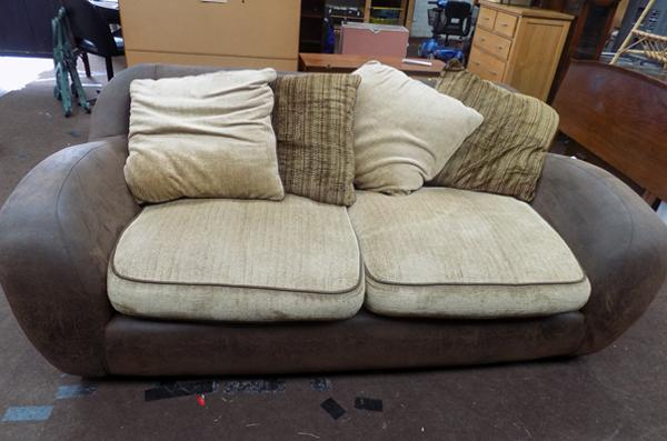Three seater settee - suede