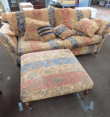 Three seater settee & footstool