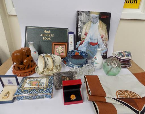 Box of mixed Asian collectables, incl. Harrods address book