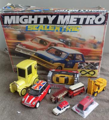 Selection of diecast and Scalextric set