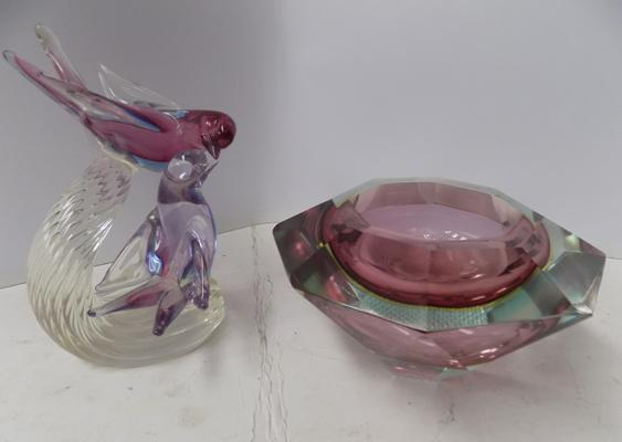 2 pieces of Bohemian Moser glass. Diamond shaped bowl and 2 birds resting on stem branch