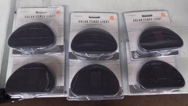Six new solar fence lights